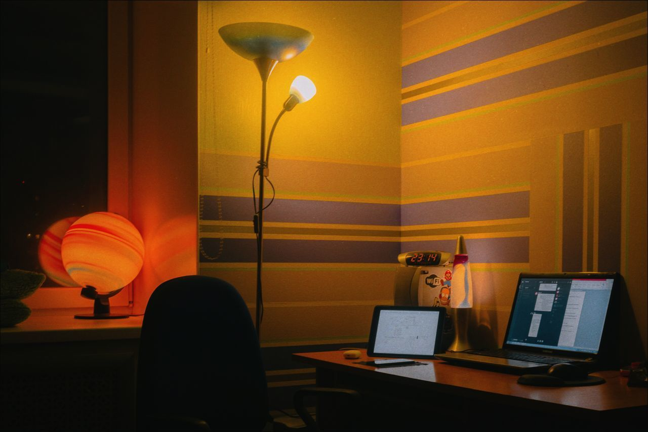 ILLUMINATED ELECTRIC LAMP AT HOME