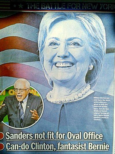"NEWS:New York Daily News,pg2. ""Can-do Clinton, fantasist Bernie."" Shellsheddyphotography Sheshephoto Hillyes Hillary Hillaryclinton Press"