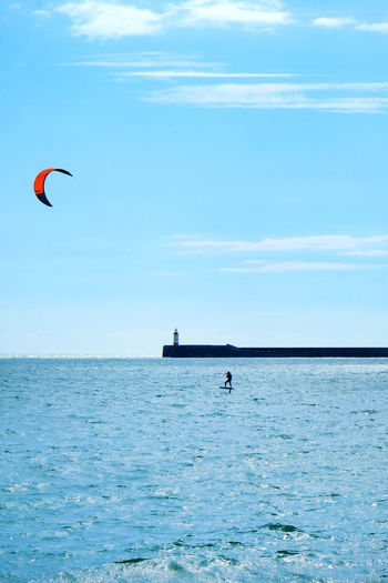 Light House Newhaven East Sussex Adventure Beauty In Nature Cloud - Sky Day Extreme Sports Harbor Wall Horizon Horizon Over Water Hydor Foil Hydro Foil Kite Surfers Kite Surfing Kiteboarding Leisure Activity Lifestyles Light House And Blue Sky Nature One Person Outdoors Sea Sky Sport Water Waterfront