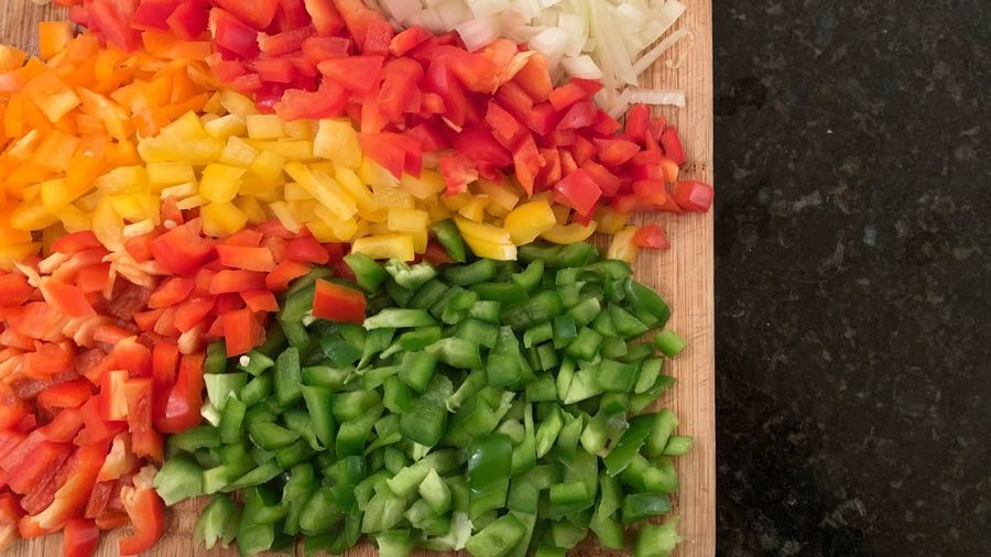 High angle view of chopped vegetables in container