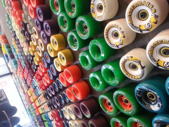 chilling at the shop staring at this big wall of wheels