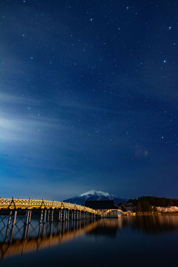 Scenic view of pier on lake against sky at night