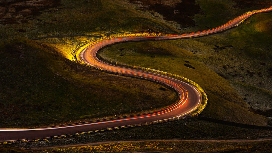 Mountain Galaxy Road Winding Road Curve High Angle View Space Landscape Mountain Road Light Trail Tail Light Long Exposure Vehicle Light Planet Earth Elevated Road Empty Road Headlight