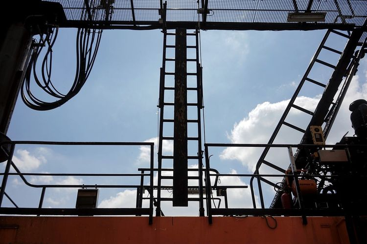 Crane Sky Low Angle View Built Structure Architecture Day No People Cloud - Sky Silhouette Nature Metal Outdoors Industry Building Exterior Grid Sunlight Tall - High