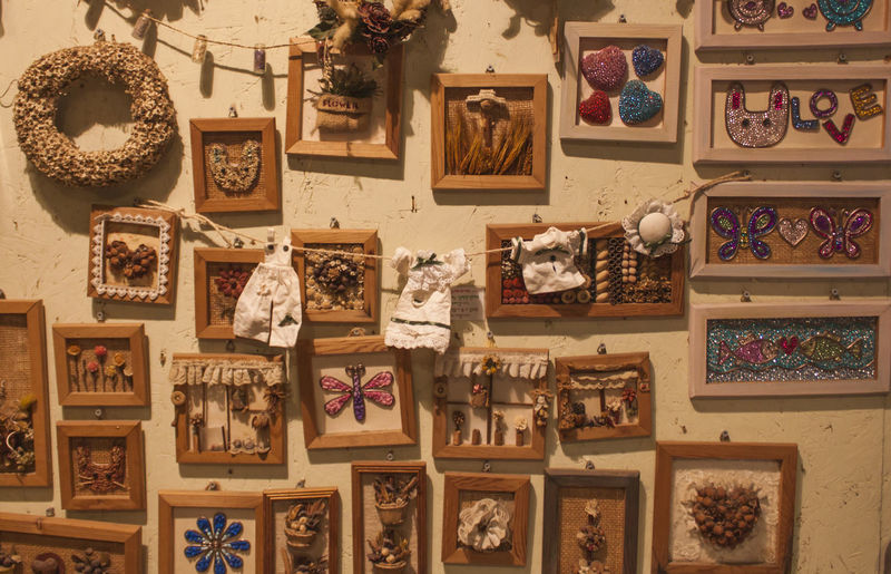 Art And Craft Variation Indoors  Collection Representation No People Large Group Of Objects Picture Frame Creativity Craft Frame Wall - Building Feature Hanging Arrangement