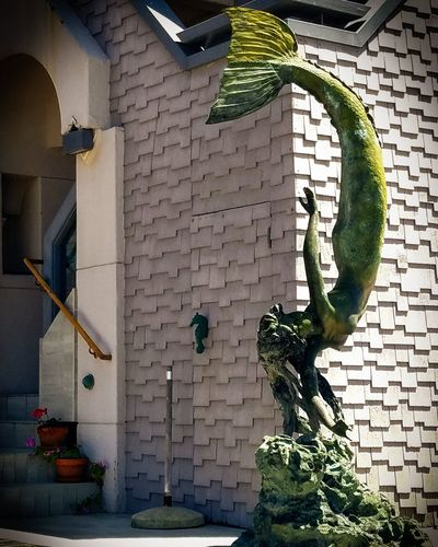Mermaid Statue Statue House Home Building Mermaid Statue Beauty San Diego Eunoialux City Art Pose California Architecture Building Exterior Built Structure Close-up Entryway Whitewashed Entrance