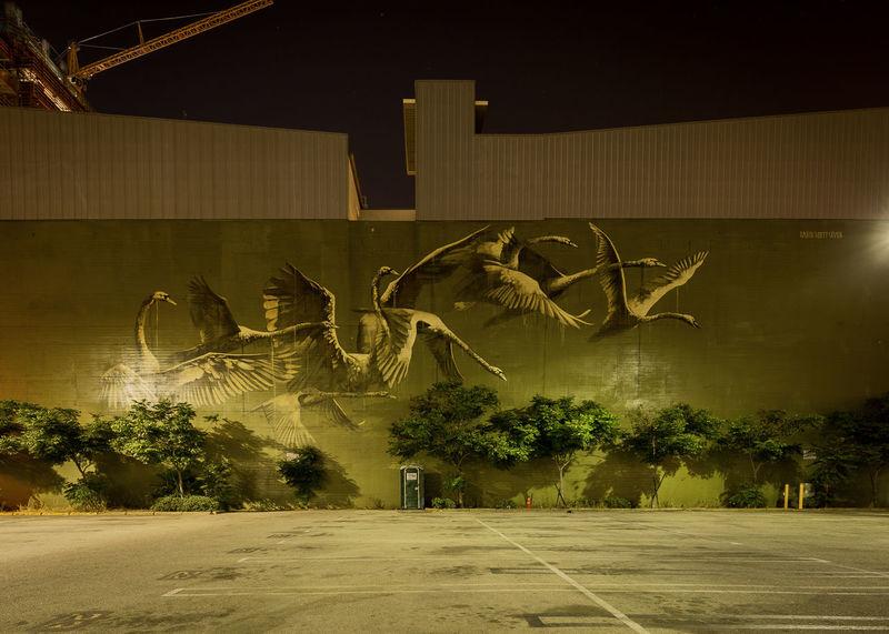 Downtown - City Animal Themes Architecture Art Illuminated Night No People Structure Tree Graffiti Green