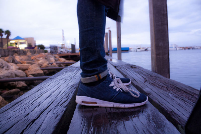 Aesthetics Athleisure Australia Boardwalk Casual Clothing Close-up Clothing Focus On Foreground Hillary's Boat Harbour Jetty Leisure Activity Lifestyles Outdoors Path Pier Shoe Tranquility Water Wood Finding New Frontiers Lieblingsteil