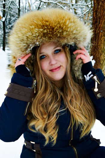 Looking At Camera Winter Cold Temperature Snow One Person Lifestyles Blond Hair Day Smiling