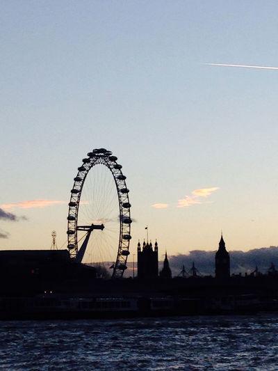 Clear Sky Landmark London London Eye Silhouette Sky Sunset Sunset In London