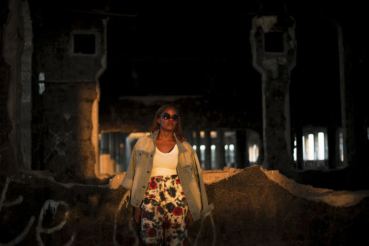 Kissed By The Sun Adult Architecture Built Structure Fashion Fashion Photography Female Model Front View Glasses Golden Hour History Indoors  Lifestyles Mid Adult One Person Portrait Real People Standing Sunset The Past Waist Up Young Adult A New Perspective On Life