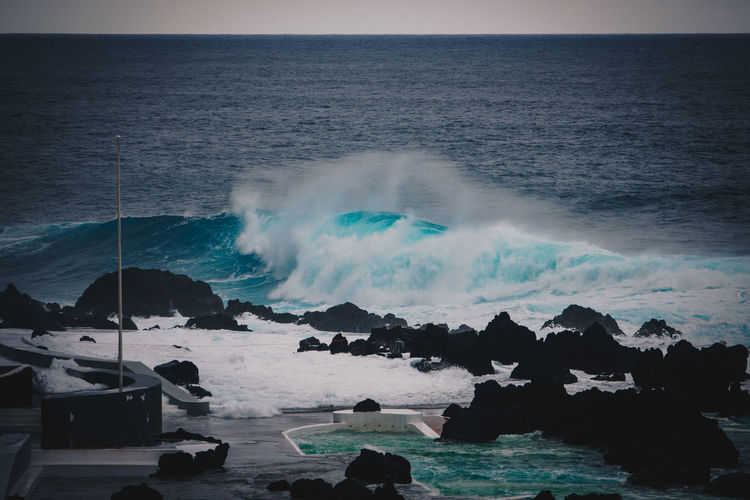 Sea Water Horizon Over Water Beauty In Nature Horizon Scenics - Nature Motion Sky Rock Wave Solid Nature No People Rock - Object Power In Nature Power Beach Land Hitting Breaking Outdoors Madeira Wave