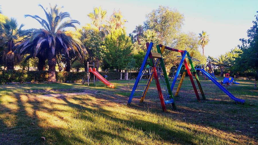 Empty Places Park Empty Park Slide Swings Trees Sunlight Relaxing Beauty Summer