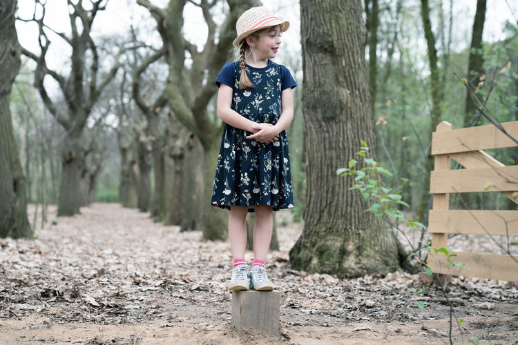 Adorable Child Childhood Cute Dress Family Fence Forest Girl Hat Looking One Person Outside Path Standing Trees Trunk