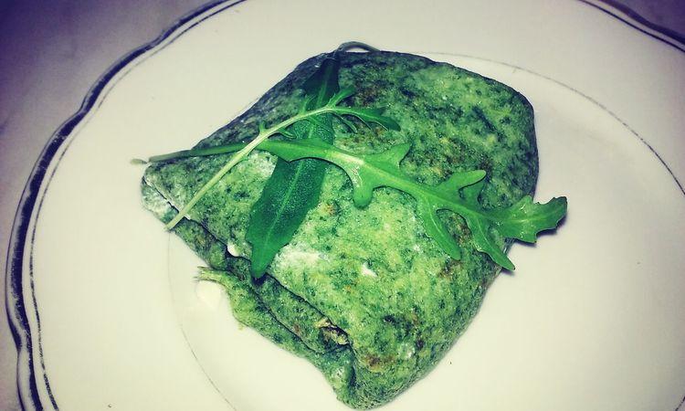 Healthy Food Pankakes Szpinak