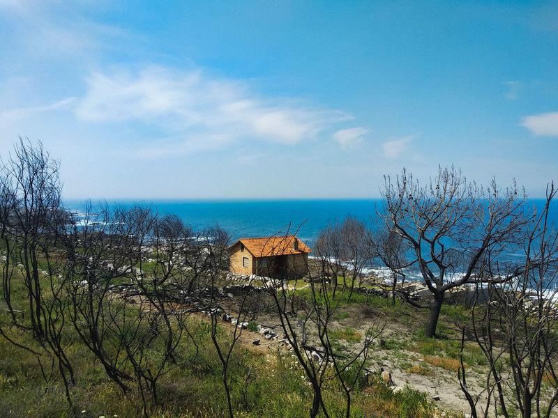 Burntdown Portugal Ocean Afterfire Sea Blue Sky Horizon Over Water