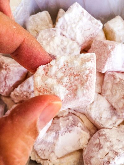 Delight  Turkish Delight Candy Hand Food Cyprus Dessert Greece Lokum Loukoumi Mediterranean Food Natural Piece Pink Rosé Soft Sugar Sweet Food Sweet Traditional Turkish Human Hand Human Body Part Food And Drink