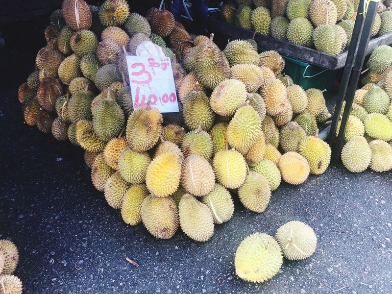 Durian, king of fruit Asian Fruits KingOfFruit Durian Fruit Freshness No People High Angle View For Sale Day Large Group Of Objects Nature Market