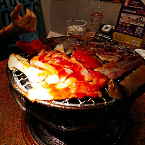 Korean BBQ BBQ Time Bbq Grill Bbqtime Thailand🇹🇭 Grilled Drink Table Close-up Food And Drink