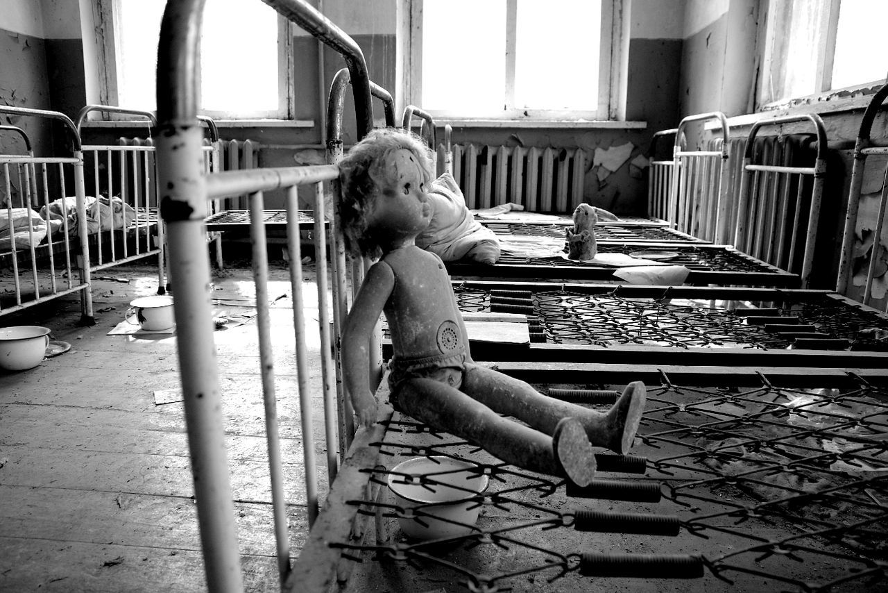 childhood, one person, abandoned, sitting, real people, indoors, day, people