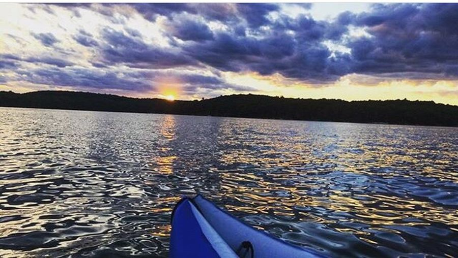 """""""Onward Always"""" Water Beauty In Nature Nautical Vessel Transportation Nature Sunset Sky No People Scenics Outdoors Tranquility Cloud - Sky Day Mountain Close-up Lakelife LakeWallenpaupack Paddle Water"""