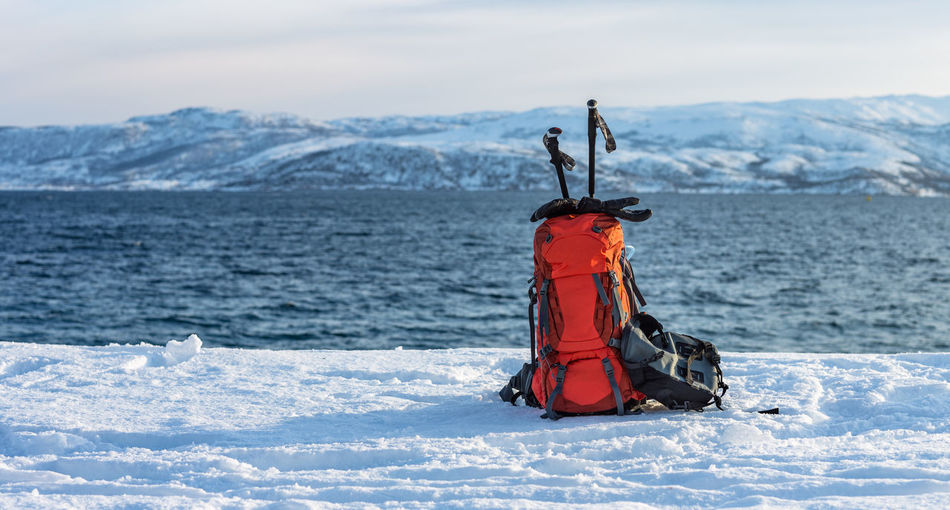 Hiking Nature Northern Norway Norway Senja Island Backpack Beauty In Nature Cold Temperature Day Deep Snow Fjord Gloves Hiking Pole Landscape Mountain Mountain Range Nature No People Outdoors Senja  Sky Snow Snowshoeing Water Winter