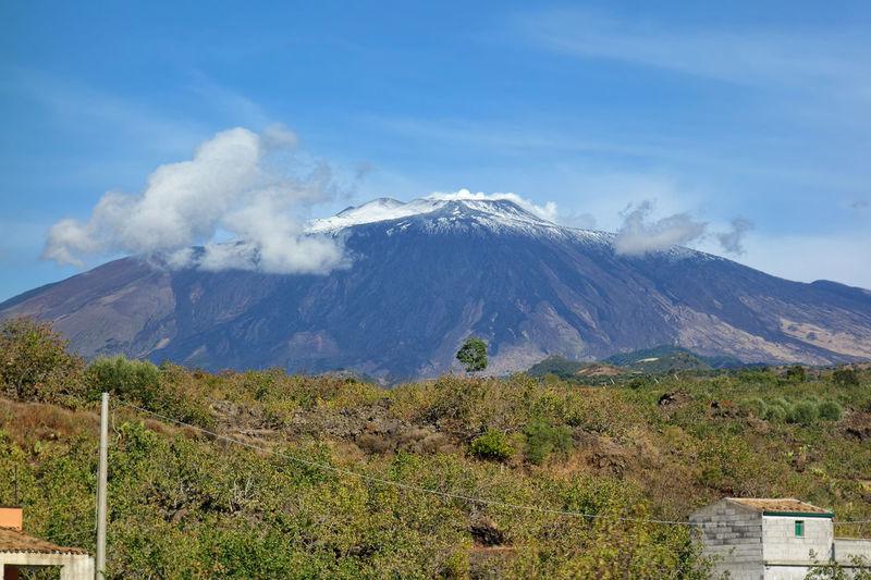 Volcano Crater Etna Snow Plants Bronte Catania Sicily Italy Mountain Blue Sky Cloud - Sky