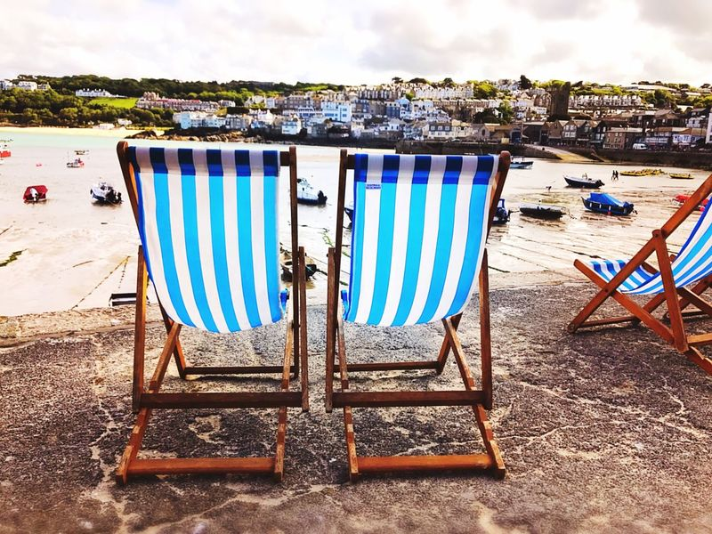 Harbour EyeEm Gallery Art Is Everywhere Outdoors Beach Sky Striped Sand Water Deckchairs Simple Things In Life St Ives Harbour Summer 2017 Summer Views Holidays Relaxing Moments Stripes Holidays ☀ Sommergefühle Postcode Postcards