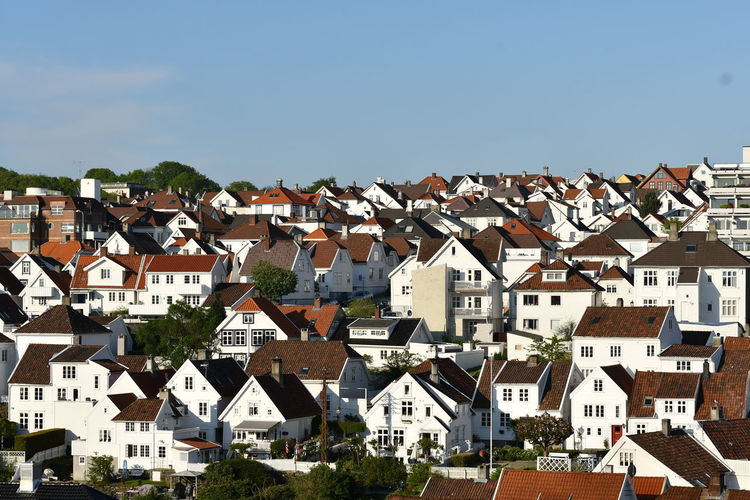 Norway Norwegen Stavanger Architecture Building Building Exterior Built Structure City Cityscape Clear Sky Community Copy Space Day House Nature No People Outdoors Residential District Roof Row House Sky Small City Sunlight Town TOWNSCAPE