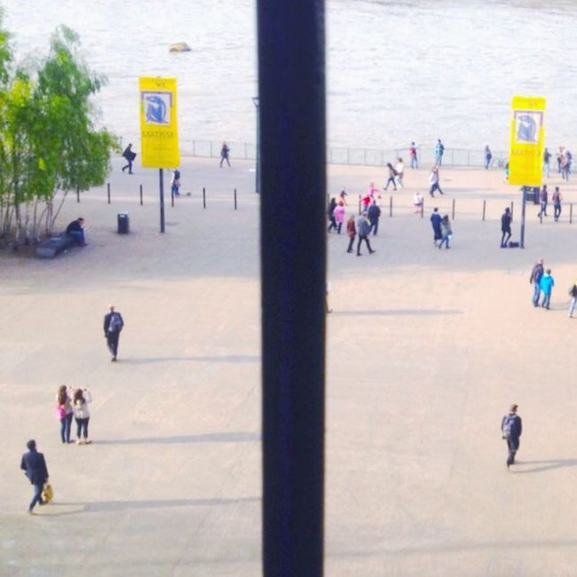 London TateModern Looking To The Other Side Lines Symmetrical People Swarm River Thames Tree