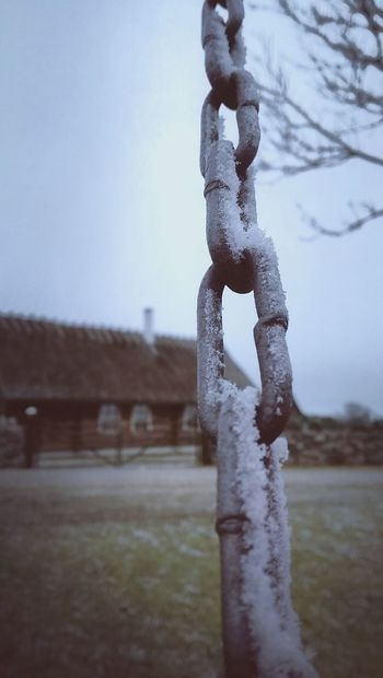Sky Outdoors Nature Chainlink Chain House Mood Of The Day Just Something Winter Nature No People Cold Temperature Close-up