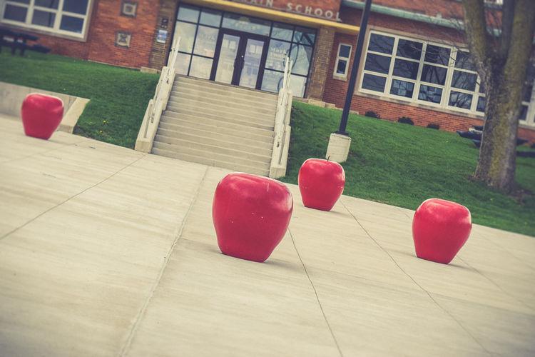Apples Building Exterior Concrete Education School School Is Cool School Life  School Time  Statues Steps