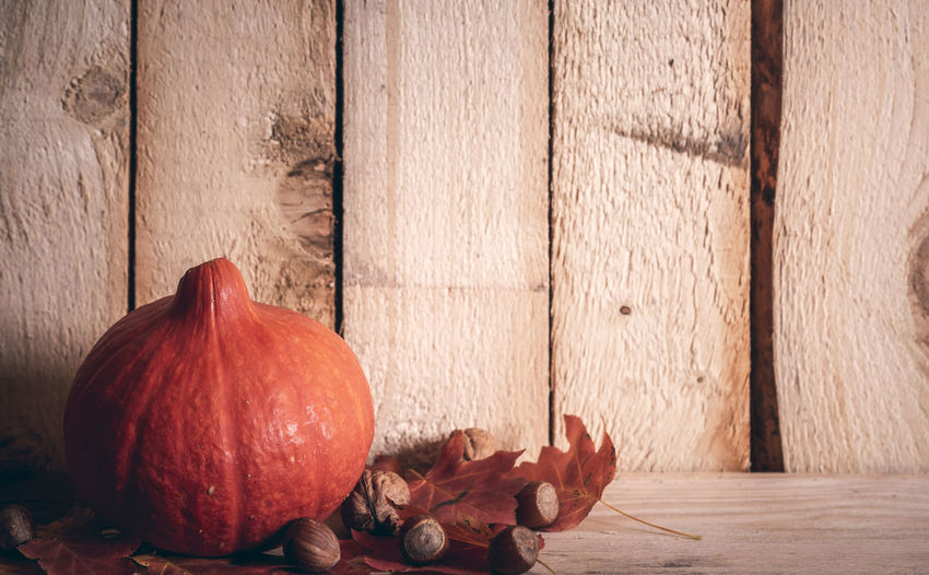 Autumn rustic banner with an orange pumpkin on red leaves, surrounded by walnuts and hazelnuts, on a vintage wooden background. Autumn colors Autumn Holiday Chestnut Fall Beauty Halloween Retro Rustic Thanksgiving Autumn Fall Leaves Food Leaf Leaves Pumpkin Still Life Vegetable Vintage Wallnut Wooden Shelf