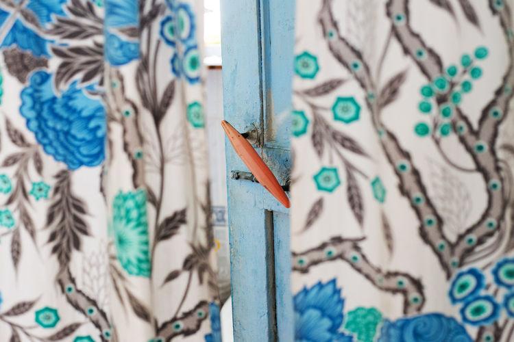 Blue Curtains Door Door Handle Door Knob Doorknob Floral Pattern Full Frame Indoors  Old Door Open Door Selective Focus Textile Textured  Turquoise Colored Veil EyeEmNewHere