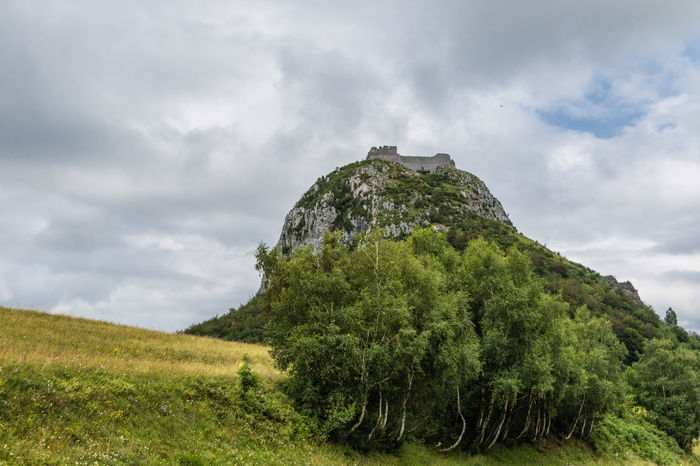 Castle Montsegur Beauty In Nature Cloud - Sky Day Green Color Growth History Landscape Low Angle View Mountain Nature No People Outdoors Ruins Architecture Scenics Sky Tranquil Scene Tranquility Your Ticket To Europe