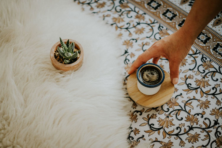 Cactus Coffee Coffee Time Espresso Morning Woman Coffee Cup Cosy Floral Pattern Fur Hand High Angle View Indoors  Lifestyles Morning Rituals One Person Pattern Style