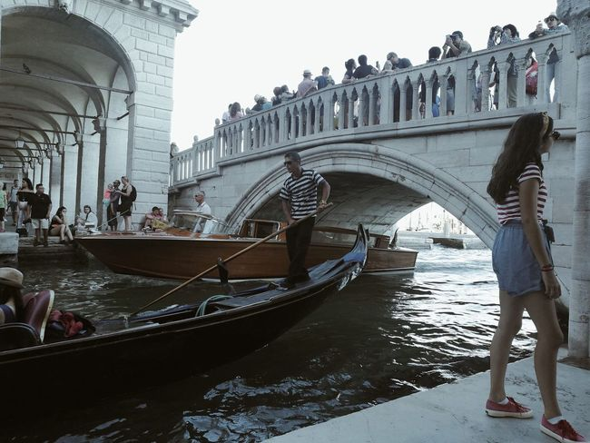 Too many ... in lovely Venice... Large Group Of People Tourism Travel Destinations Real People Transportation Gondola - Traditional Boat Built Structure Water People Venice, Italy