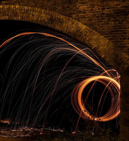 Light painting of firework display at night