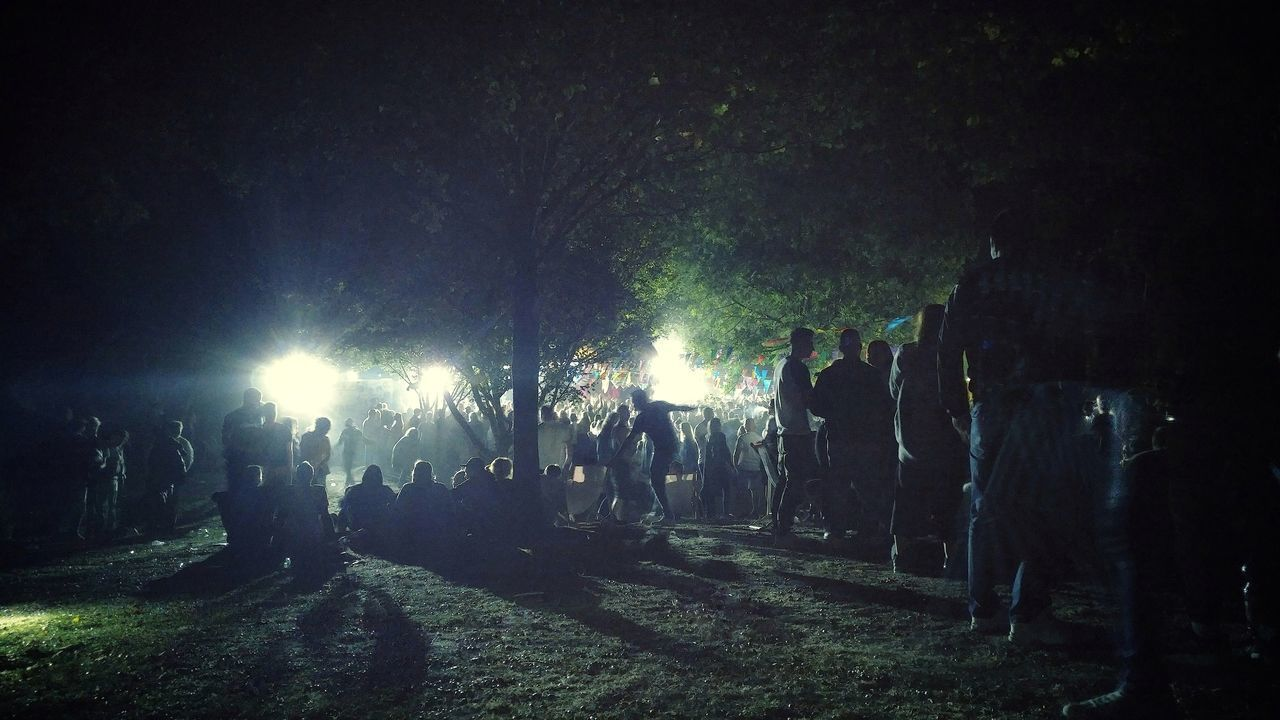 PEOPLE ENJOYING AT NIGHT DURING FESTIVAL