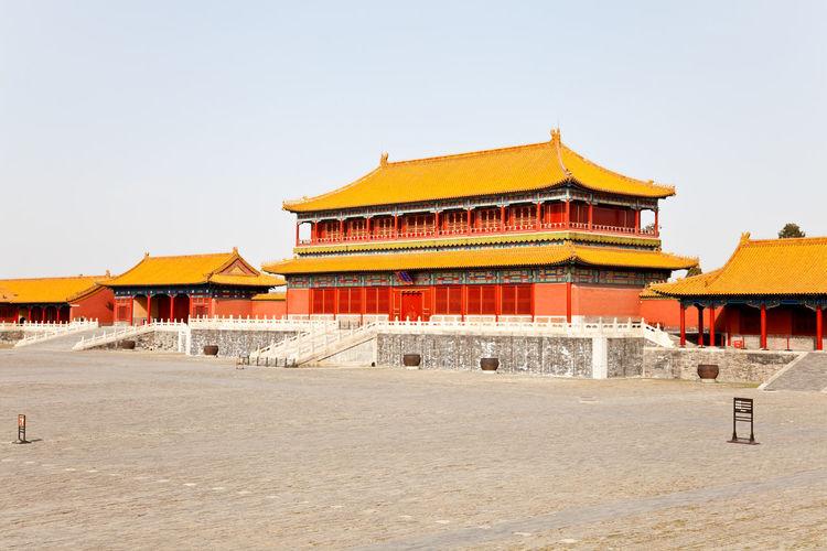 Temple building against clear sky
