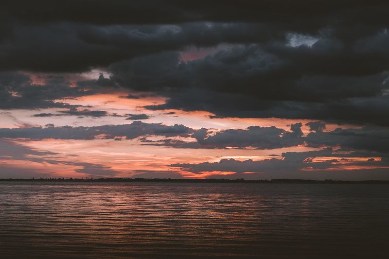 Night Sunset Beauty In Nature Cloud - Sky Scenics Sky Nature Tranquil Scene Tranquility Water No People Sea Silhouette Storm Cloud Outdoors Horizon Over Water Landscape