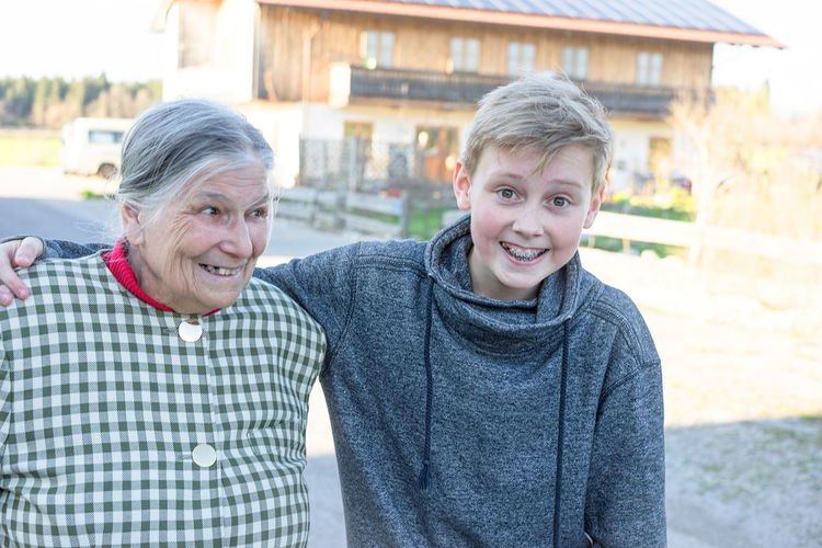 Family Grandma And Grandson Happiness Happy People Leisure Activity Senior Adult Smiling Sunny Teen Teen And Grandma Togetherness Two People Young And Old