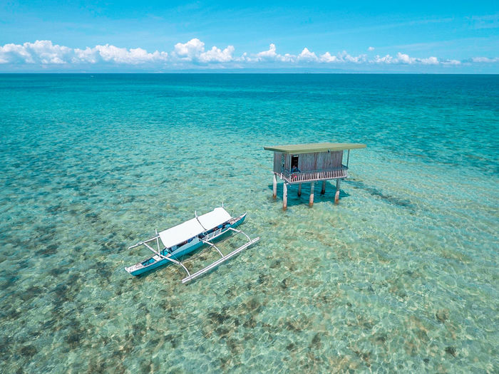 Beach Beauty In Nature Blue Day Eyeem Philippines Horizon Over Water Lifeguard Hut Nature No People Outdoors Sand Sea Sky Water