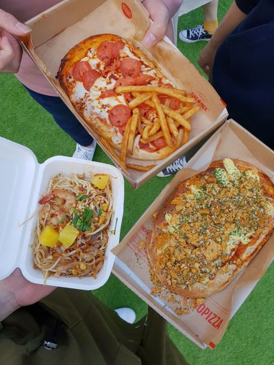 Pizza Human Hand Fast Food Plate Appetizer High Angle View Gourmet Close-up Food And Drink