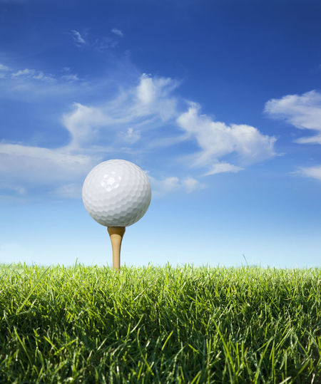 Blue Close Up Clouds Golf Golf Ball Golf Course Golf Tees Grass Green Color Low Angle View No People Pin Sky Sunlight Tee Box