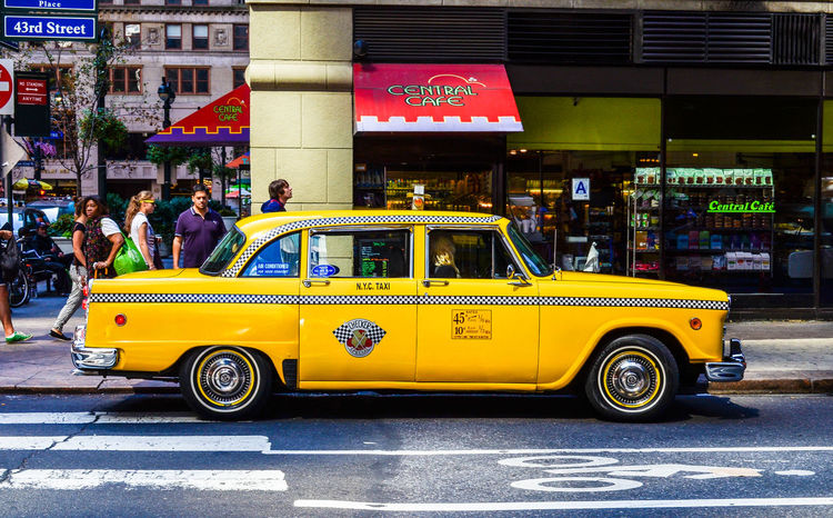 Classic Yellow Cab Car City City Life City Street Classic Car Classic Tattoo Classic Taxi Incidental People Land Vehicle Mode Of Transport New York Cab New York Cab, Classic Cab New York Taxi New York Taxi Drag Race Old On The Move Road Taxi Taxi Traffic Transportation Trip Vehicle Yellow