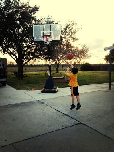 Enjoying the basketball goal Poppa got!!!