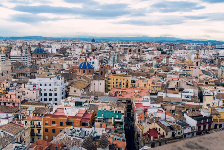 valencia view from above picturesque city landscape Architecture Building Exterior Built Structure City Building Residential District Cloud - Sky Crowd Cityscape Sky Crowded Town Nature Community High Angle View Roof Day House Outdoors TOWNSCAPE Settlement Apartment Valencia, Spain View From Above