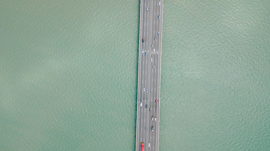Aerial view of bridge over sea
