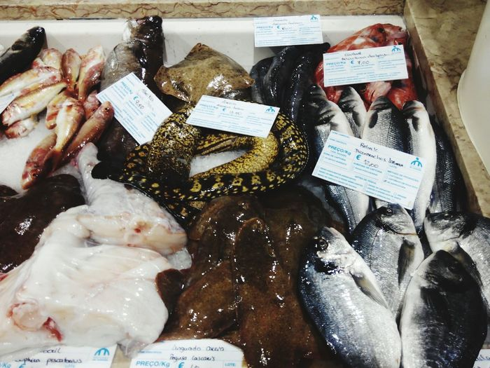 Close-up Food And Drink Fish Market Price Tag For Sale Market Stall Stall Street Market Retail Display Flower Market Window Display Raw Retail  Squid Fishing Industry Dried Fish  Crushed Ice Fishes Display Various Market Farmer Market Shop